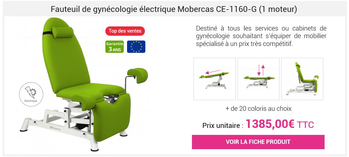 Fauteuil de gynécologie électrique Mobercas CE-1160-G (1 moteur)